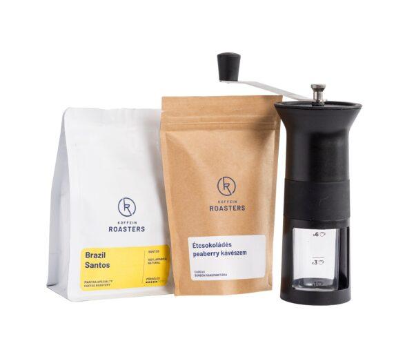 kávéőrlő ajándékcsomagban